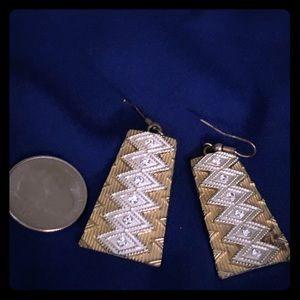 Statement tribal gold/cz earrings.